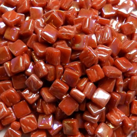 8mm Square Tiles - Burnt Orange Pearlised - 50g